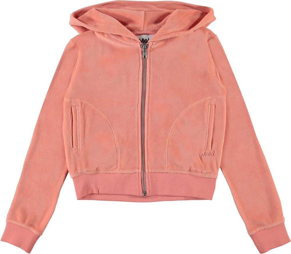 Milla - Burnt Coral - Coral coloured velour hoodie