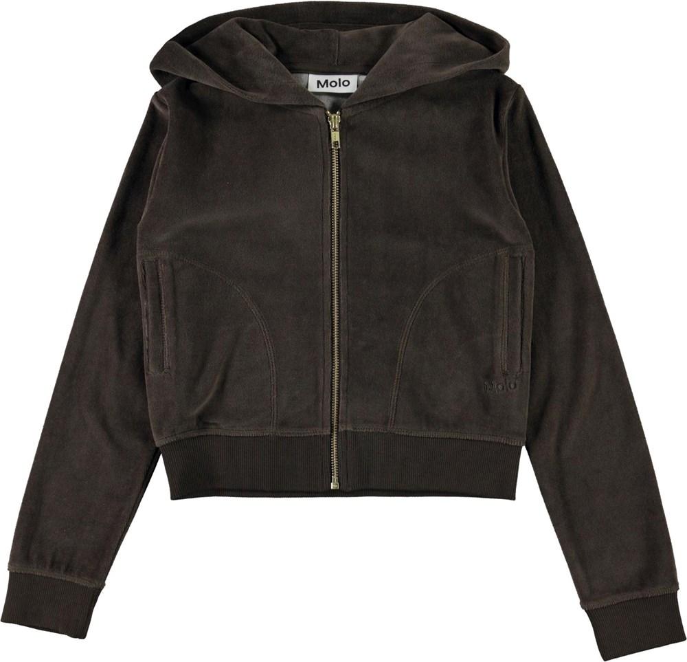 Milla - Deep Brown - Brown velour hoodie