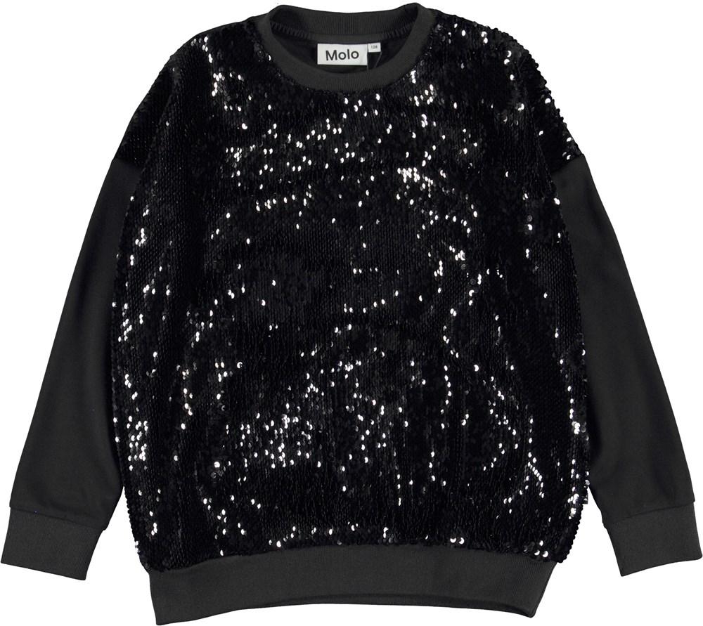 Mitha - Black - Black sweatshirt with sequins