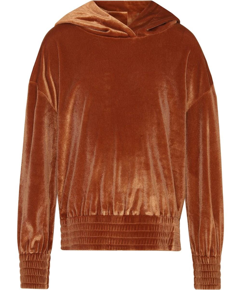 Monelle - Burnt Brick - Brown velour hoodie