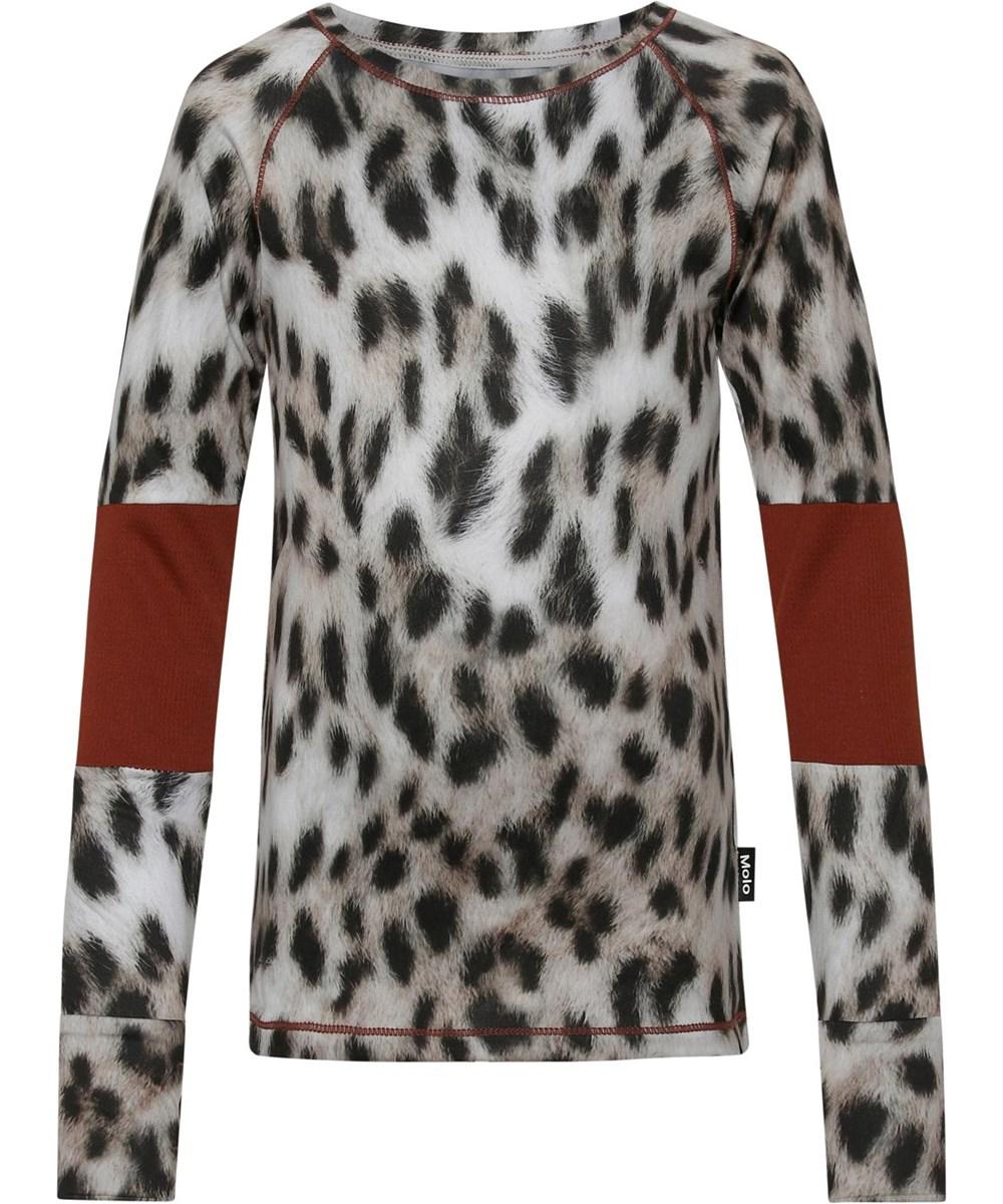 Odelia - Snowy Leo Fur - Sports top with snow leopard print