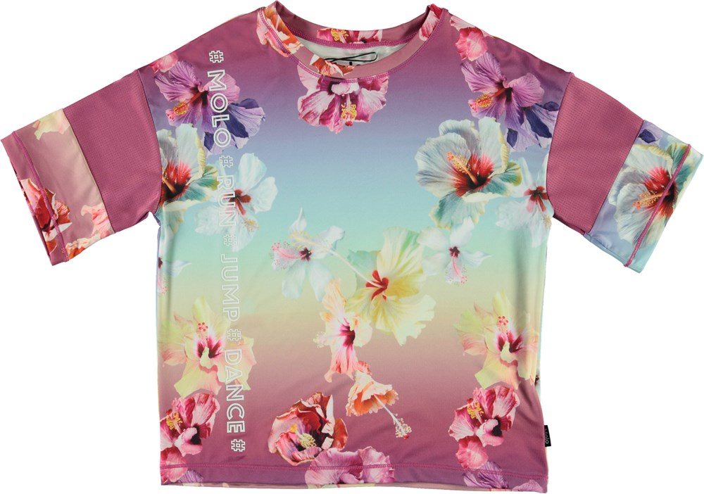 Odessa - Hibiscus Rainbow - Floral t-shirt with coral-coloured stripes