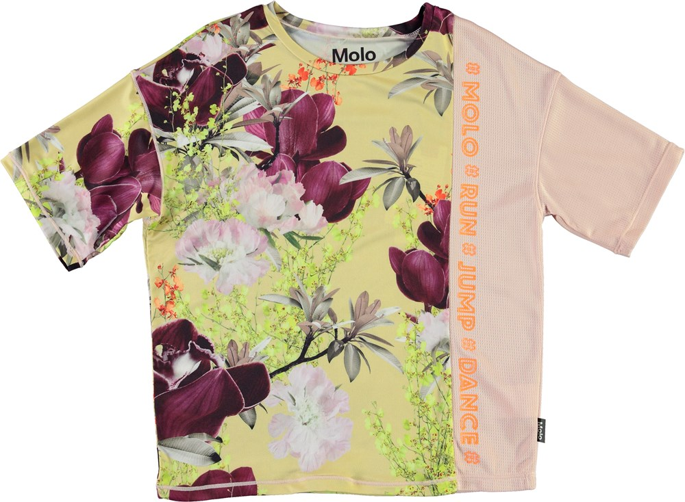 Odessa - Orchid - Sports t-shirt in light yellow with flowers