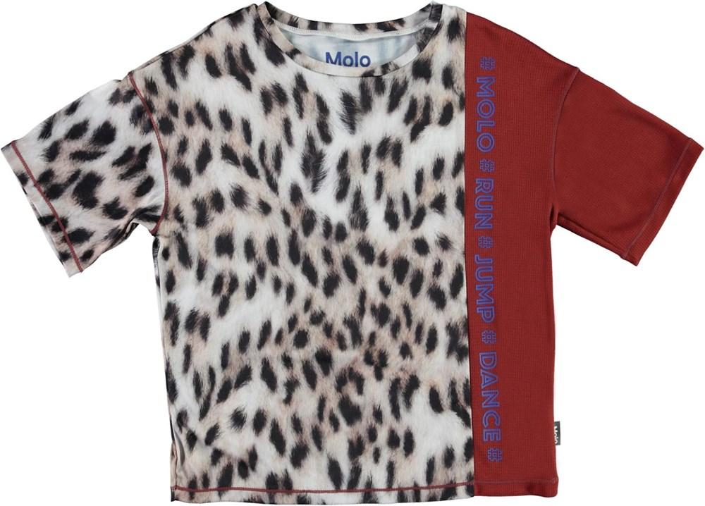 Odessa - Snowy Leo Fur - Sports t-shirt with snow leopard print