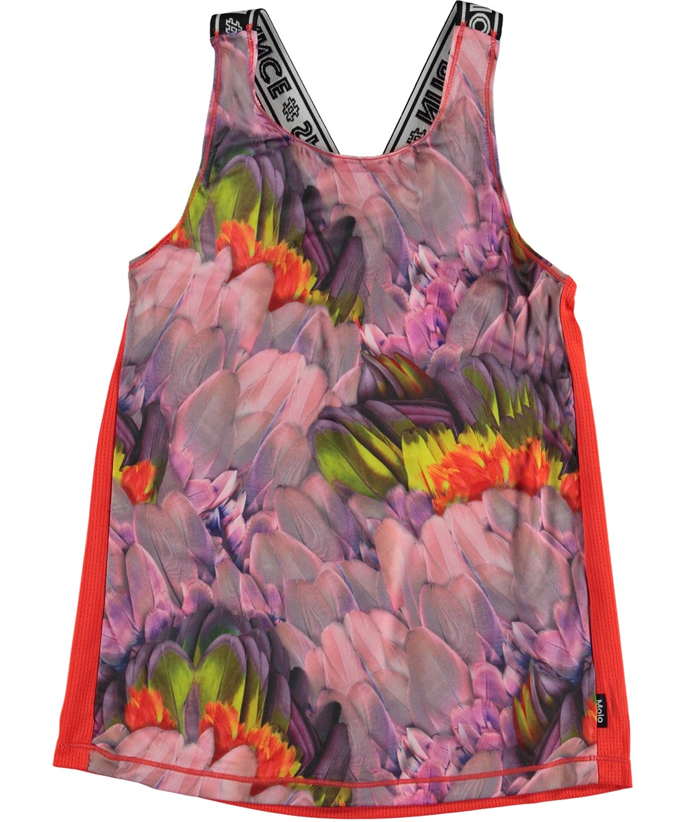 Oriana - Cacatua - Blue sports top with flower print