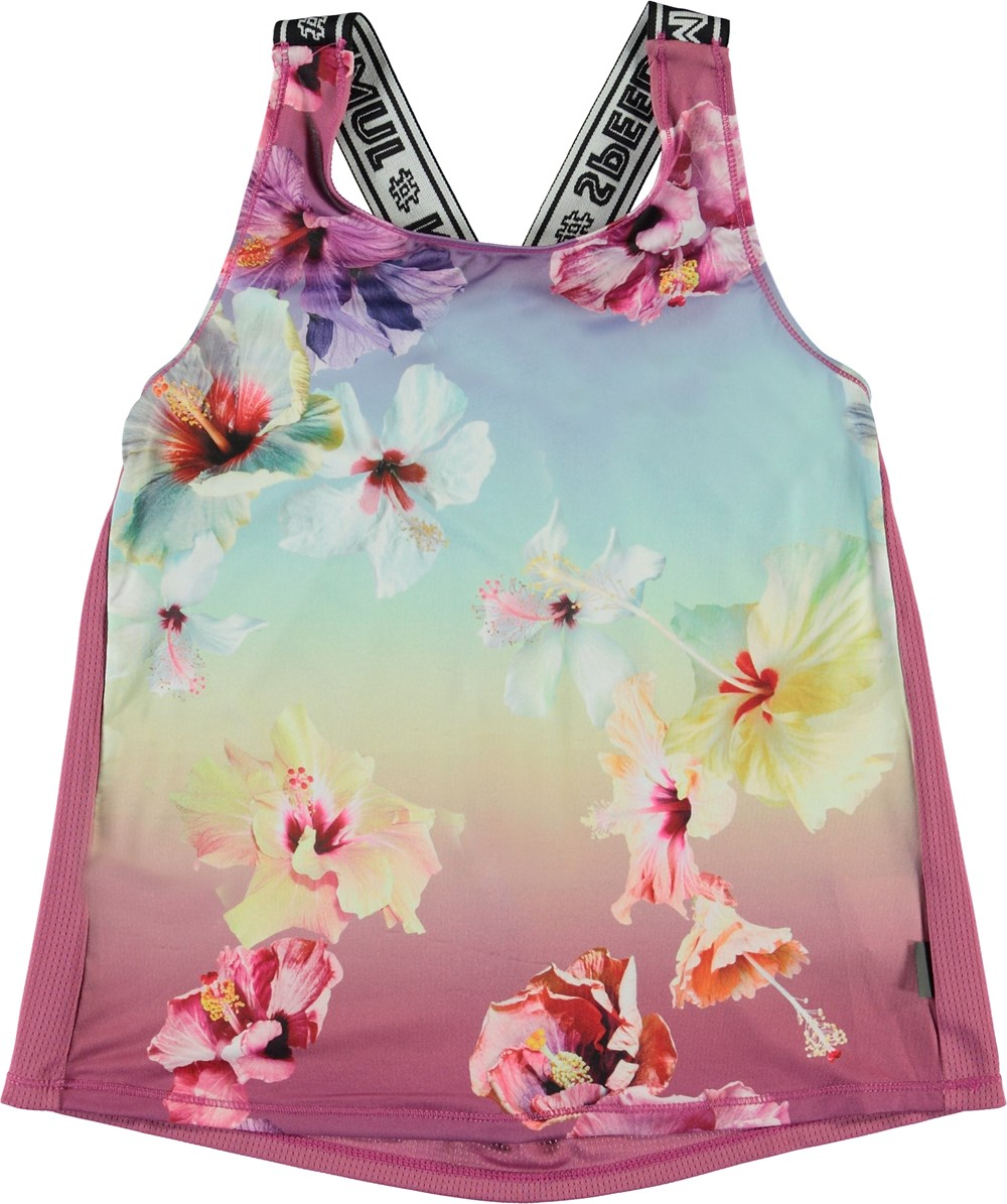 Oriana - Hibiscus Rainbow - Pink sports top with floral print