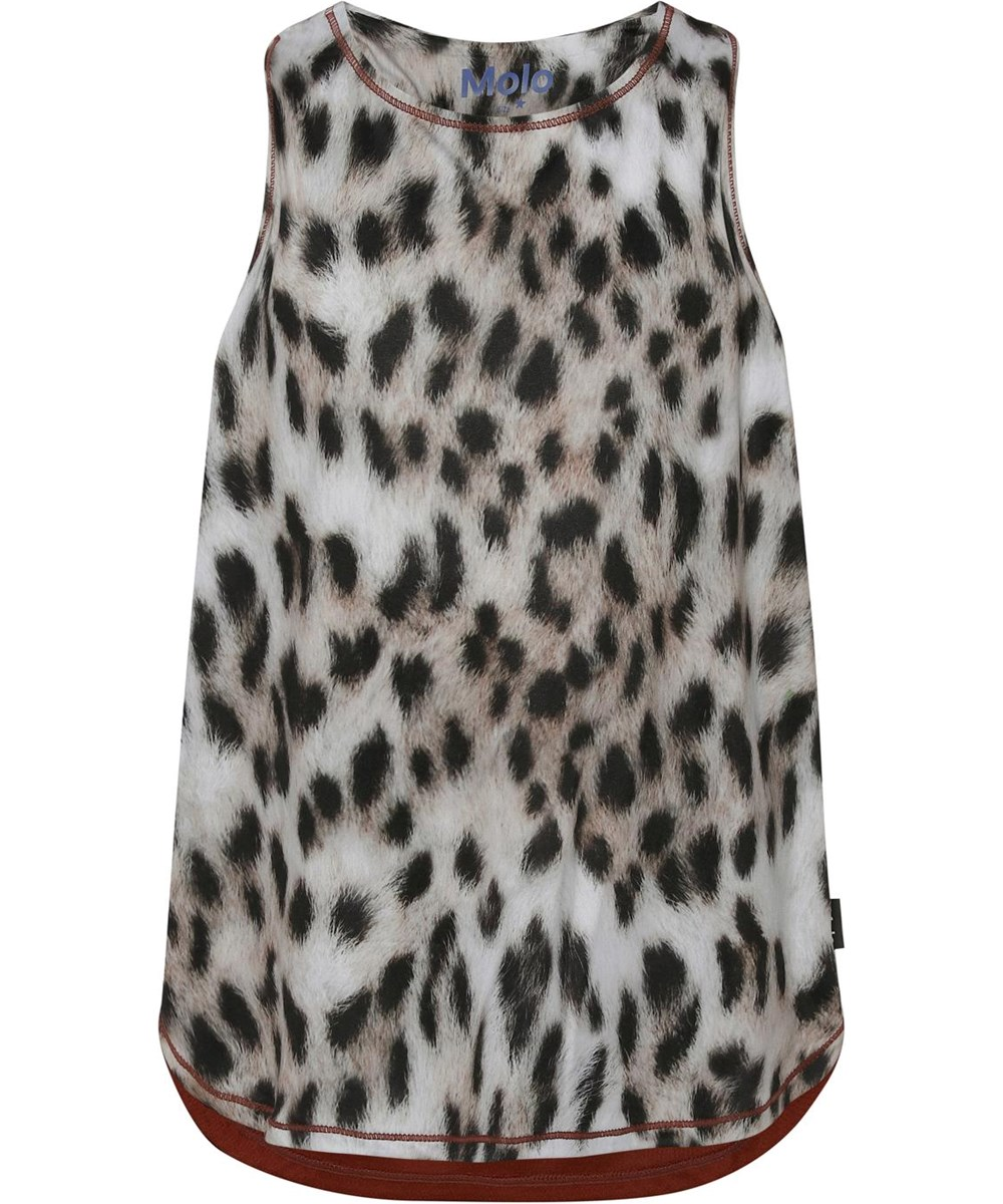 Oriana - Snowy Leo Fur - Sports top with snow leopard print and brown back
