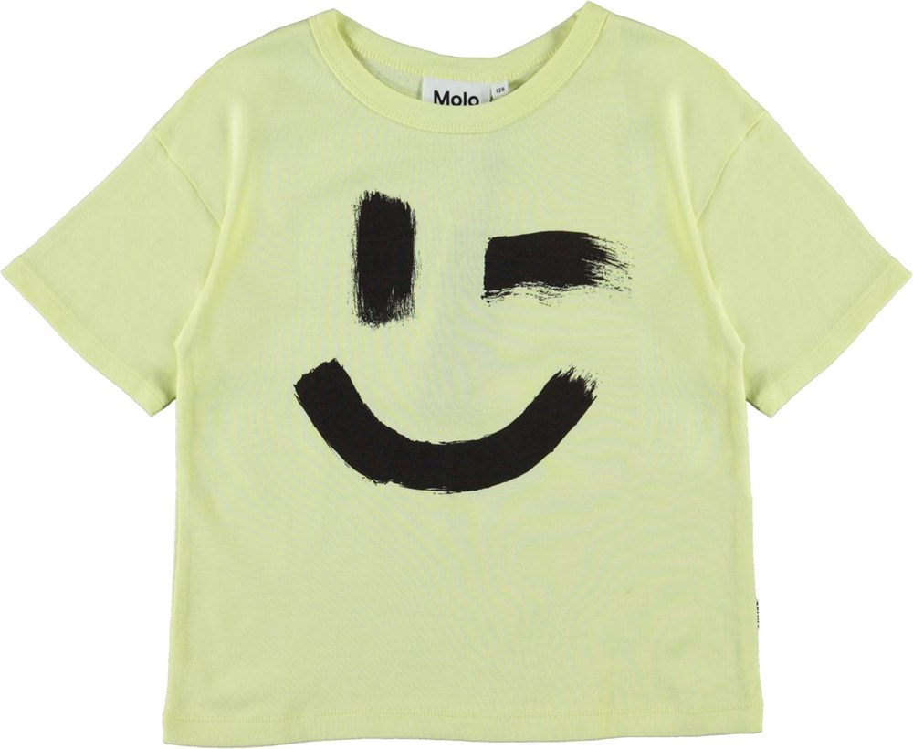 Rabecke - Painted Wink Yellow - Light yellow organic t-shirt with smiley face print