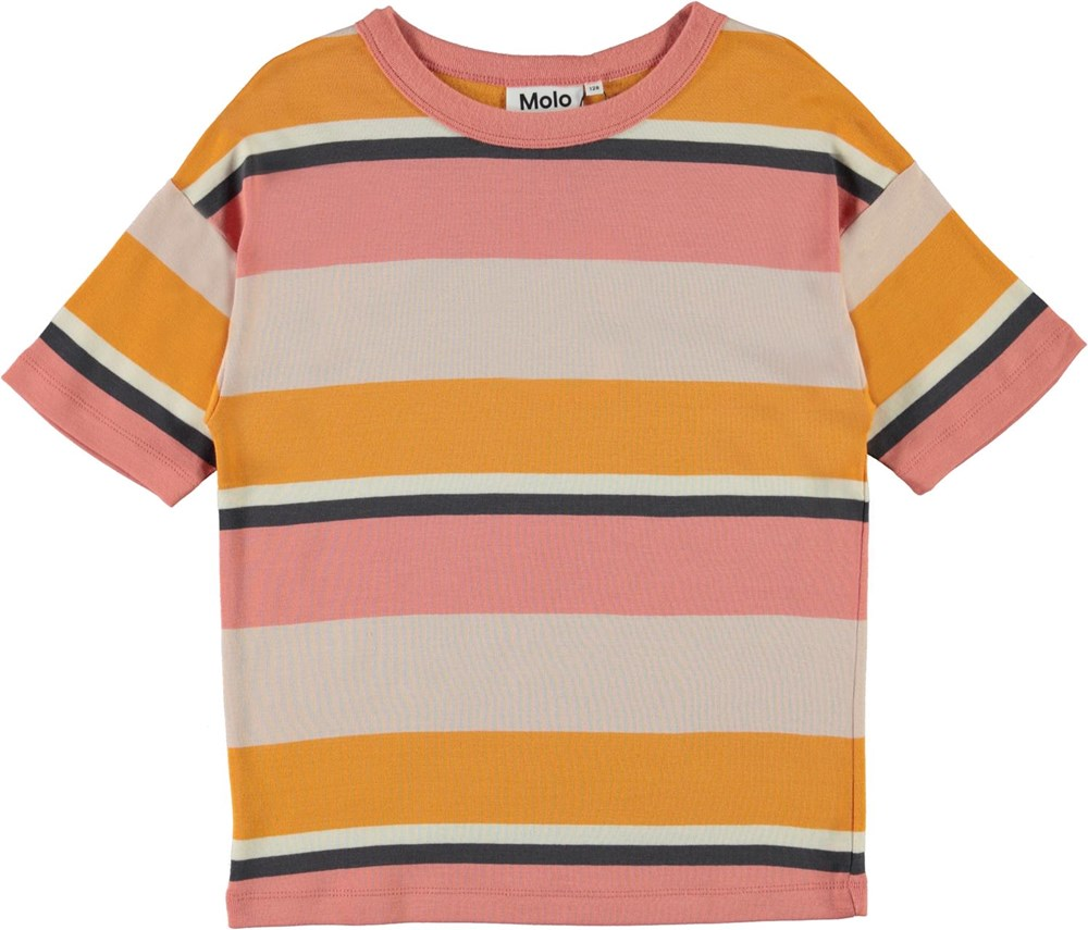 Rabecke - Vide Coral Stripe - Rose and yellow striped organic t-shirt