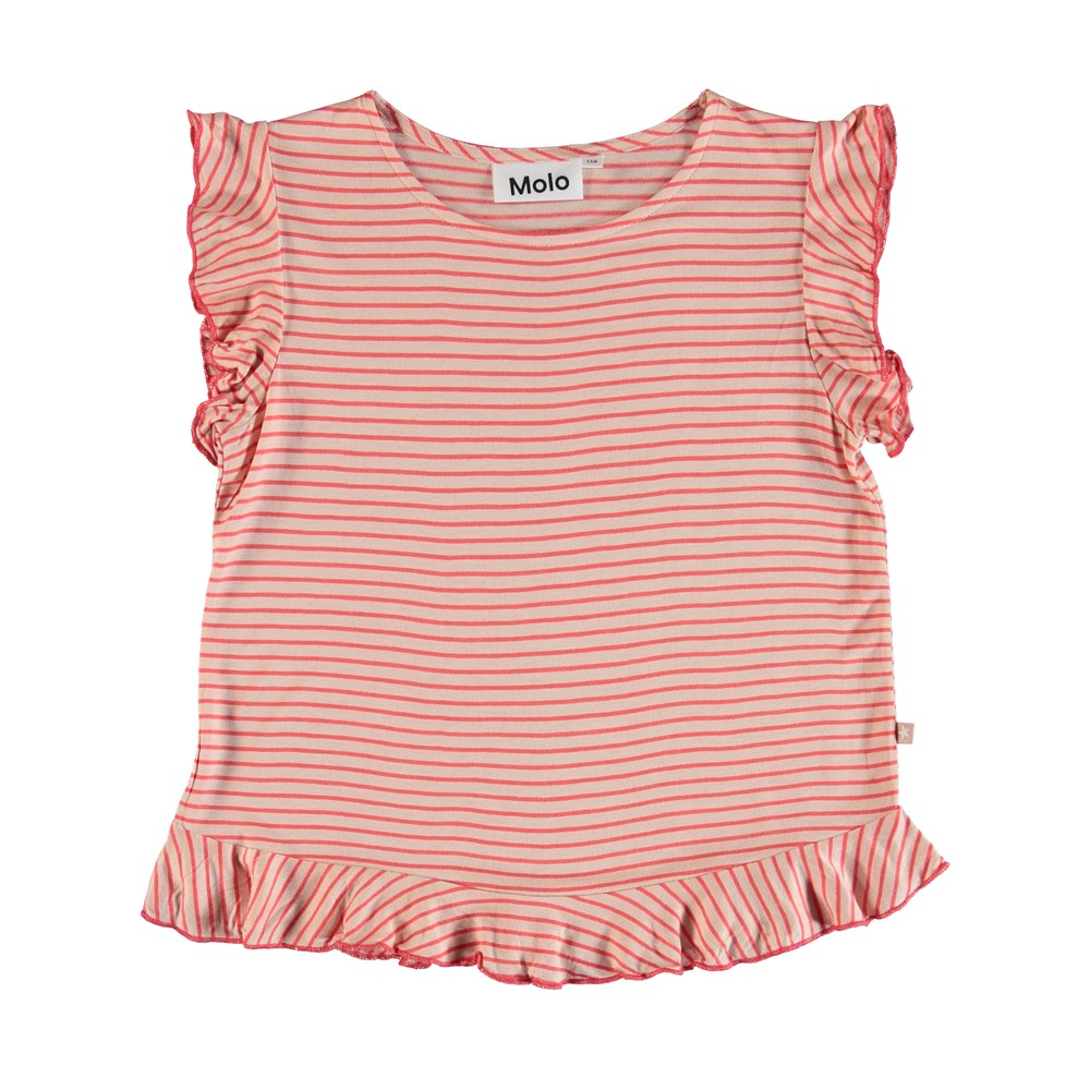 Rabia - Hot Coral Stripe - Molo Top