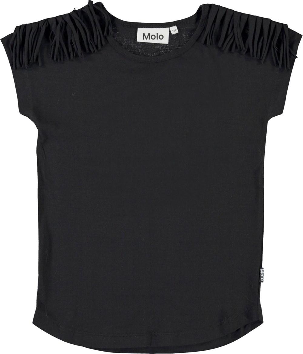 Radmilla - Black - Black organic t-shirt with fringe