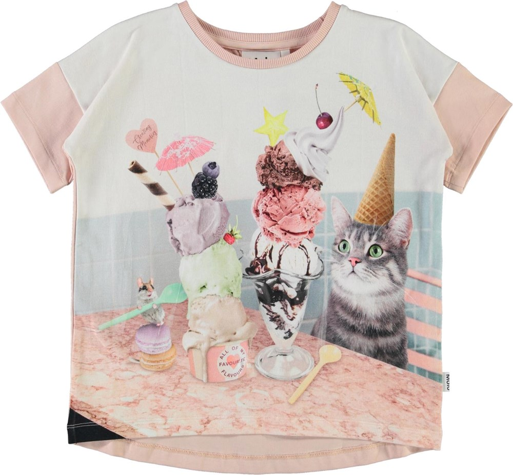 Raeesa - Fav Flavours - Organic t-shirt with ice cream cone and cat