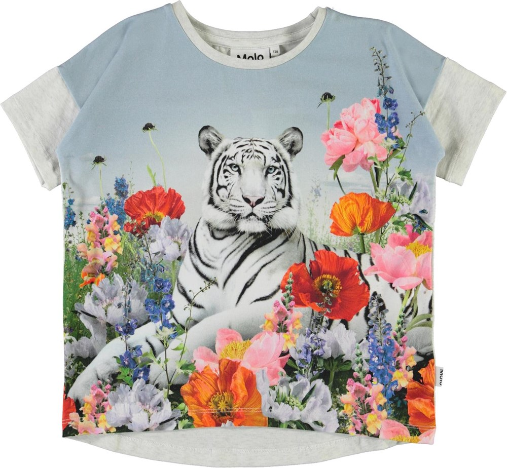 Raeesa - Flower Tiger - Organic t-shirt with tiger and flowers