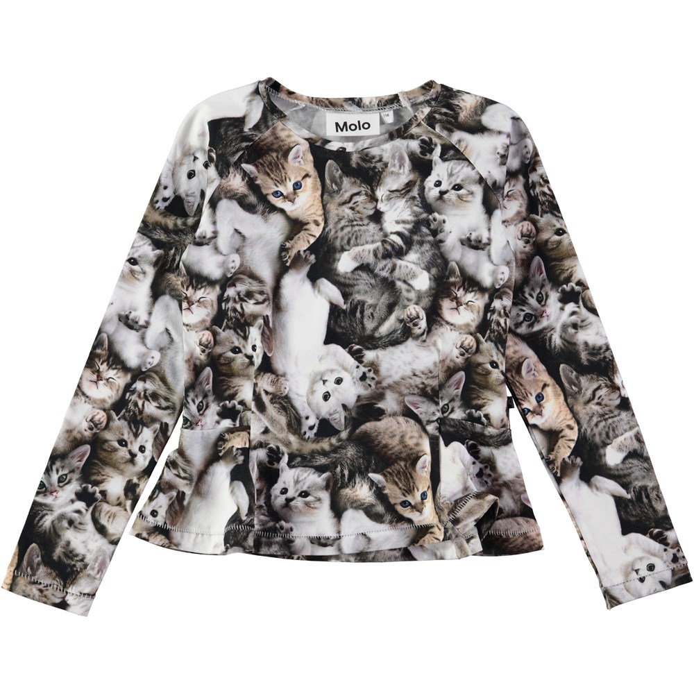 Raelicka - Miauuu - long sleeve top with cats and peplum