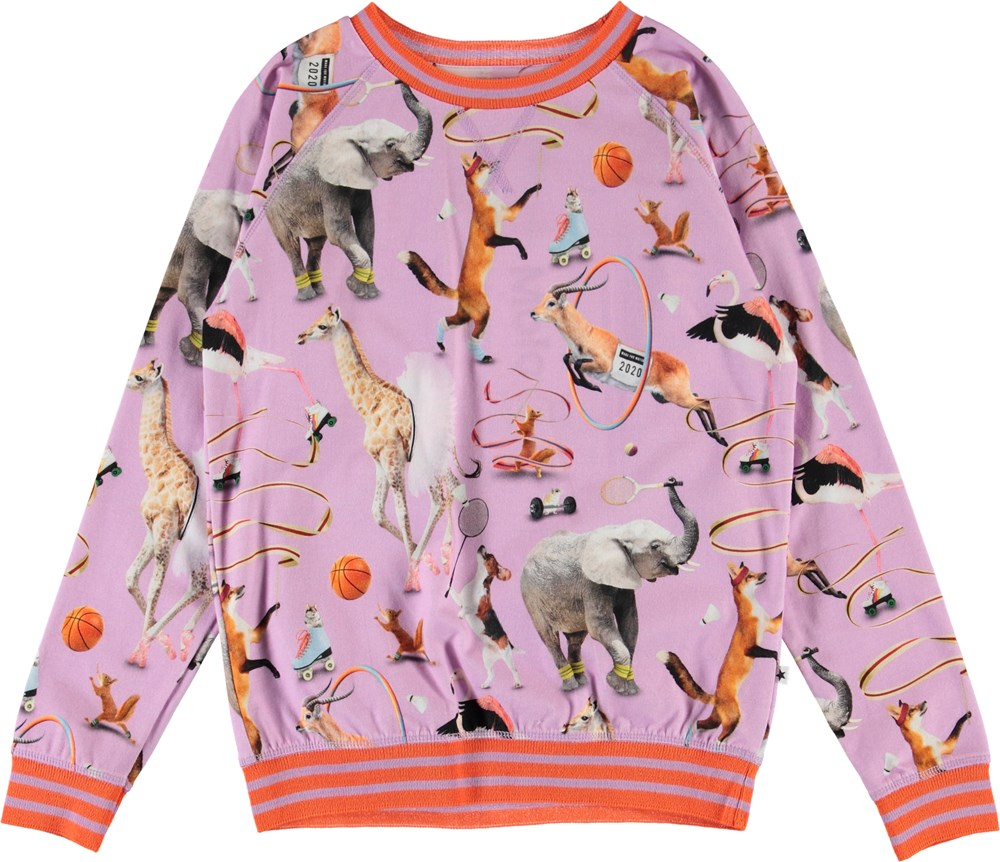 Raewyn - Made For Motion - Purple organic top with sports animals