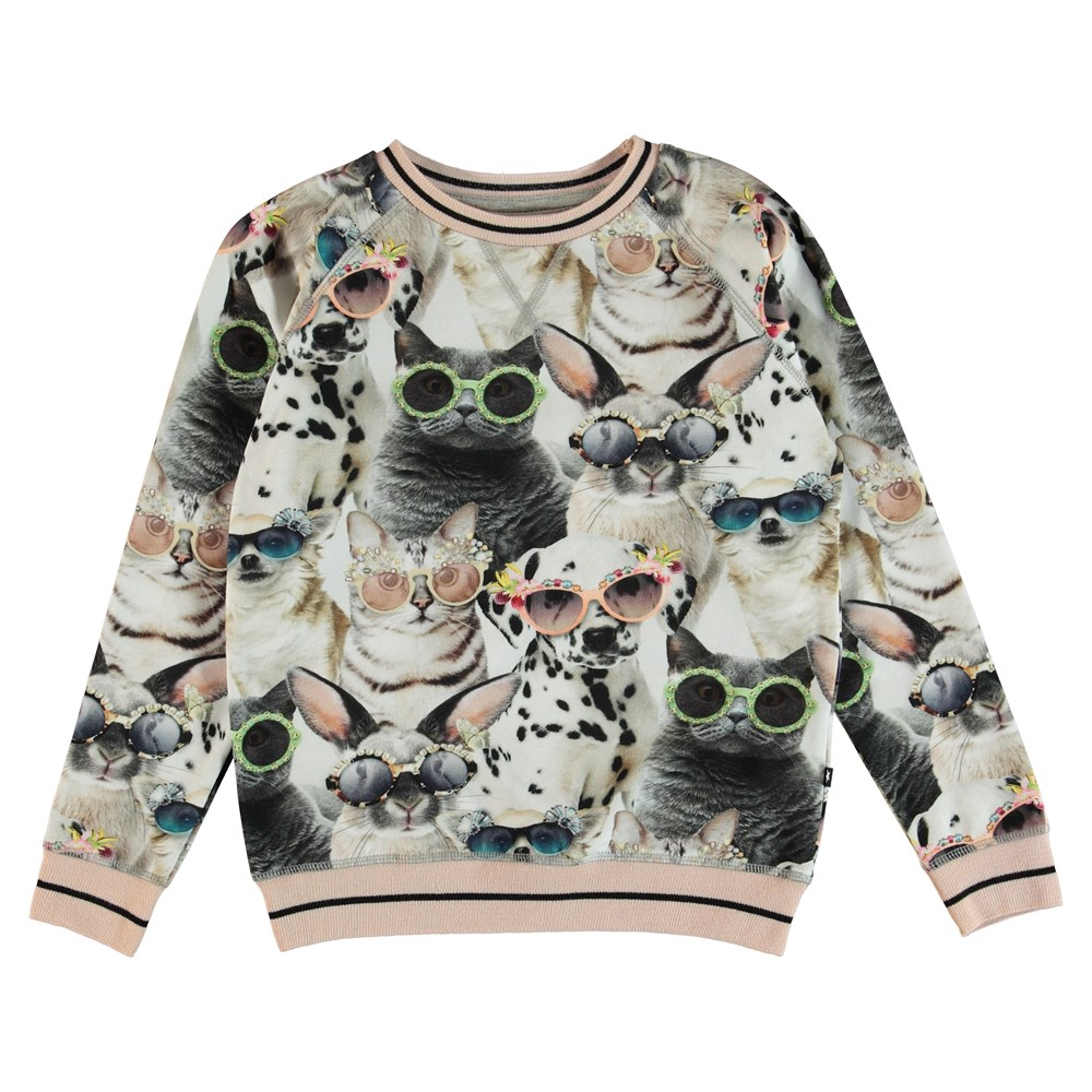 Raewyn - Sunny Funny - Sweatshirt with a print of animals with sunglasses and striped rib.