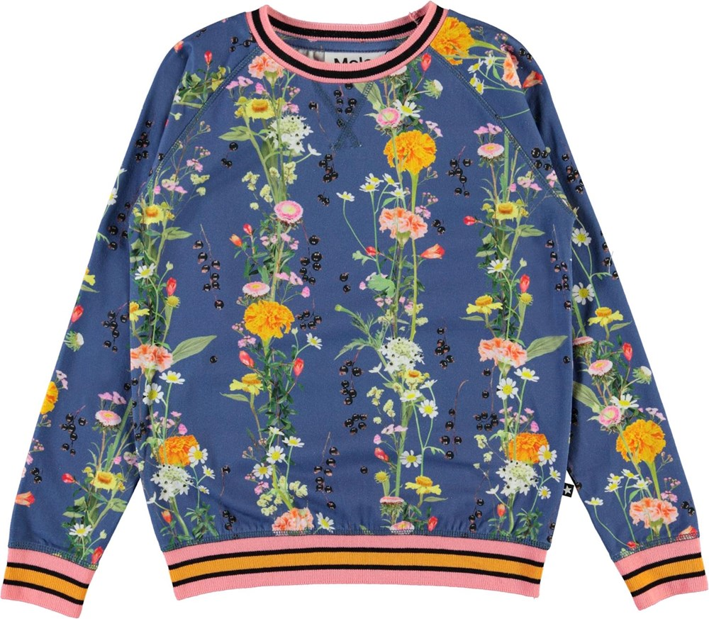 Raewyn - Vertical Flowers - Blue organic top with floral print