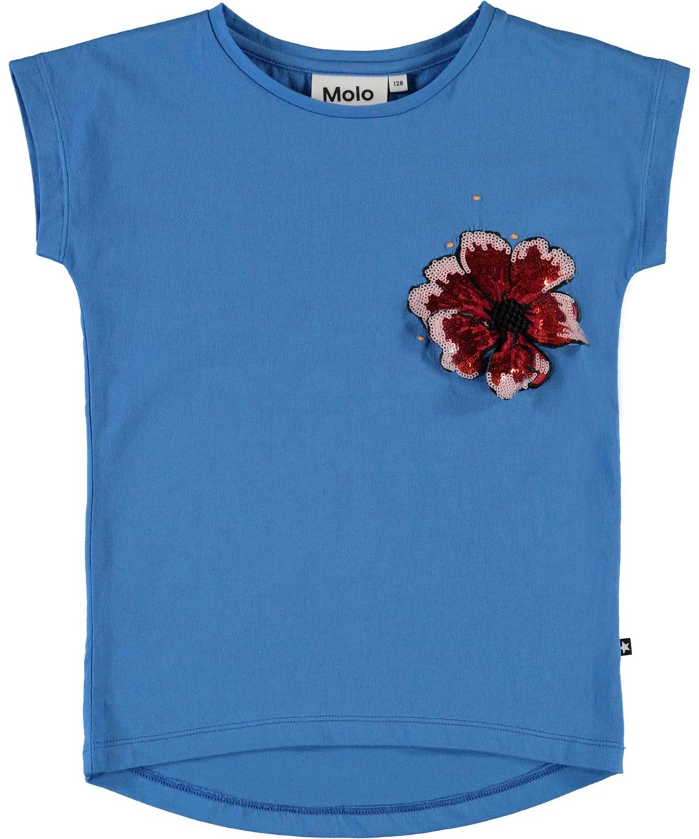 Ragnhilde - French Blue - Blue t-shirt with sequin flower