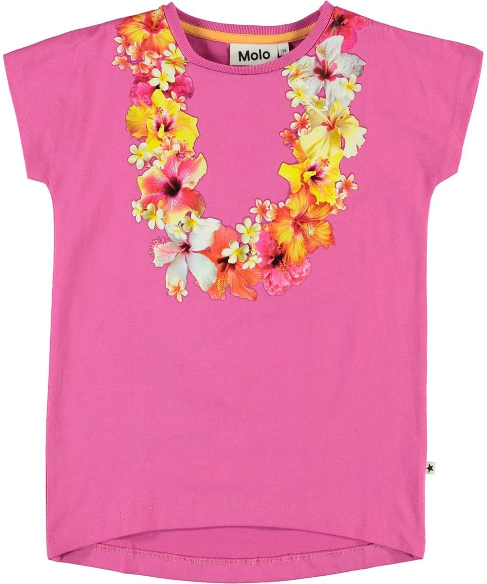 Ragnhilde - Hawaii Flower - Pink organic t-shirt with flower wreath
