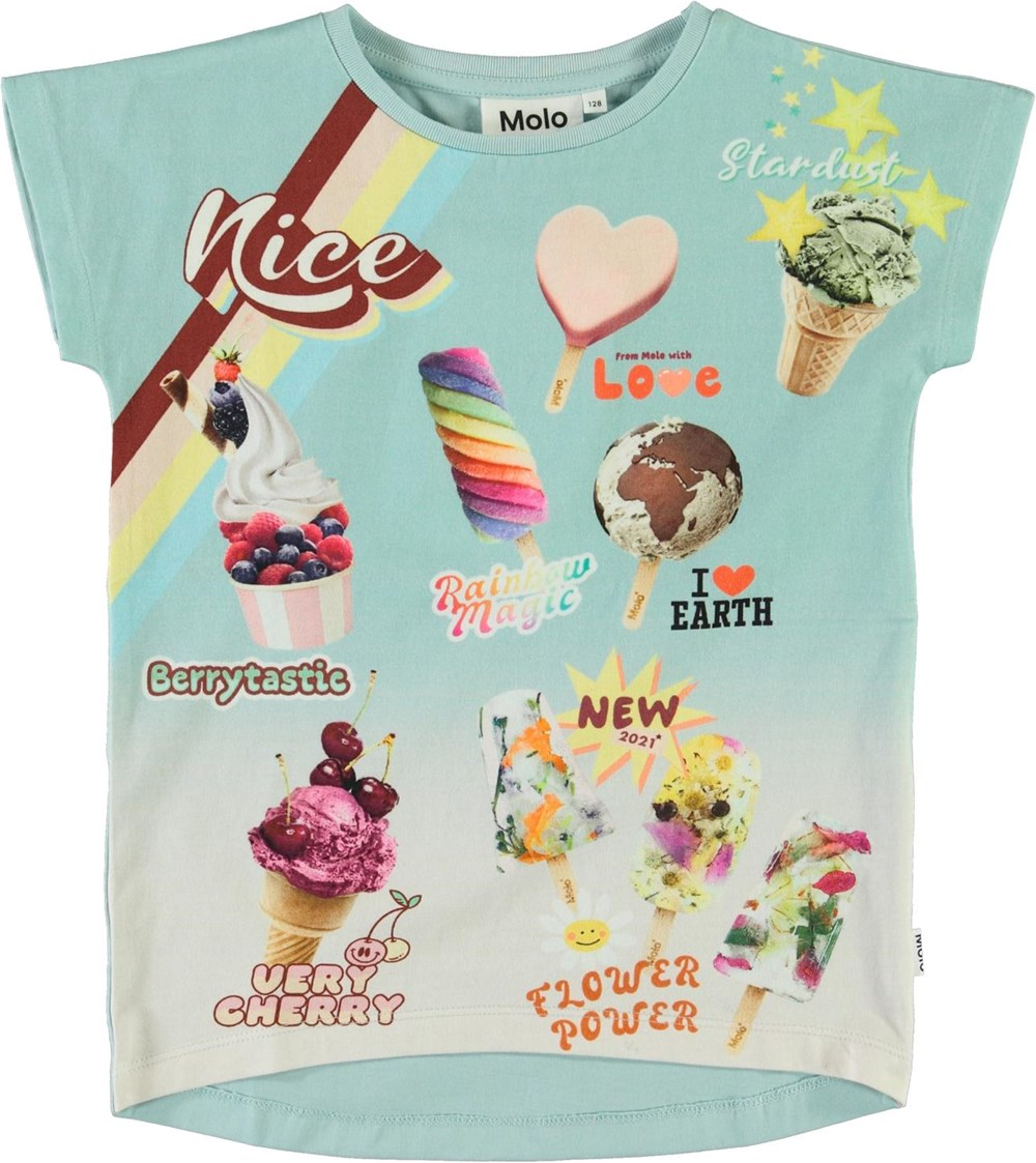 Ragnhilde - Nice Sign - Organic t-shirt with ice cream menu poster