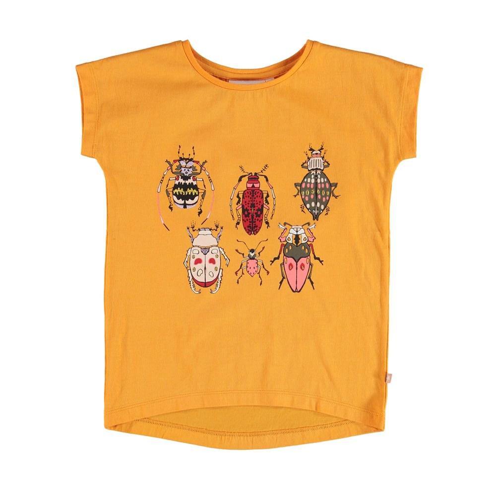 Ragnhilde - Orange Bloom - Orange t-shirt with insect print.