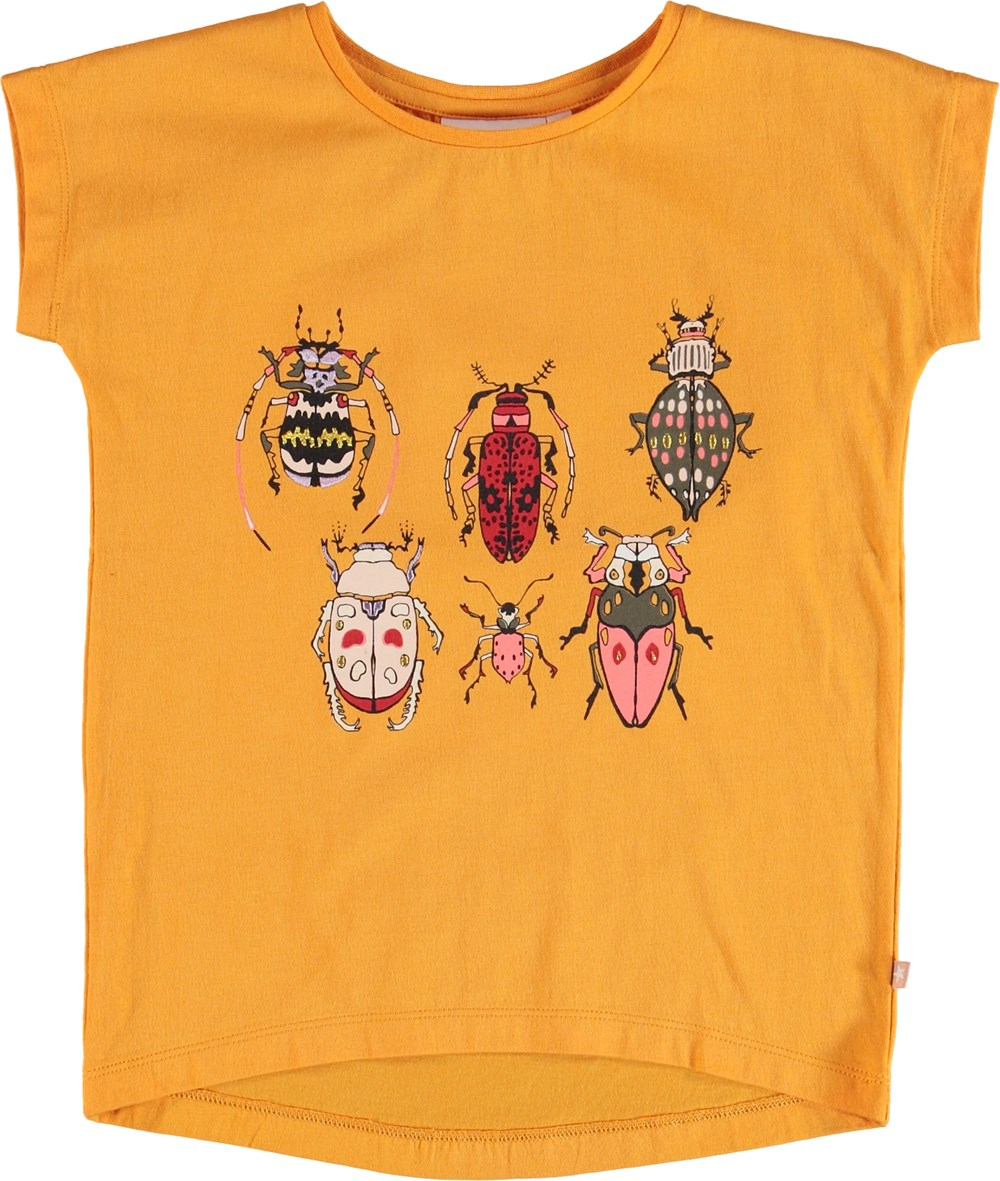 Ragnhilde - Orange Bloom - Orange t-shirt with insect print.