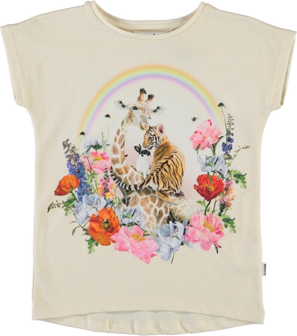 Ragnhilde - Rainbow Circle - Organic t-shirt with flowers, animals and rainbow