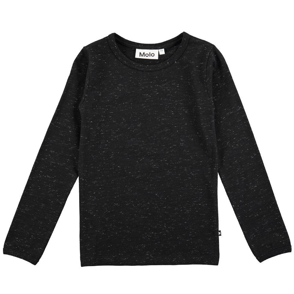 Ramona - Black - Long sleeve black melange t-shirt with glitter