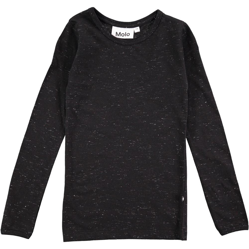 Ramona - Black - long sleeve black melange top