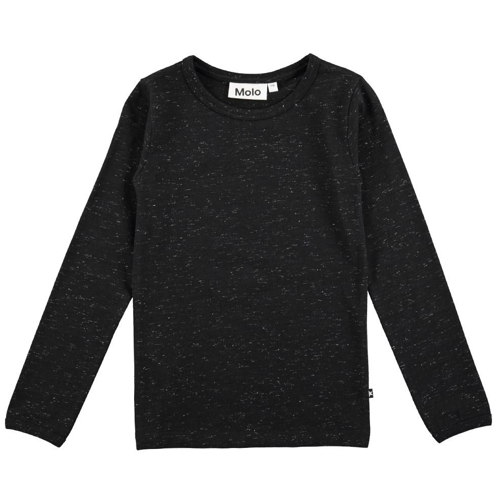 Ramona - Black - Long sleeve black top with glitter
