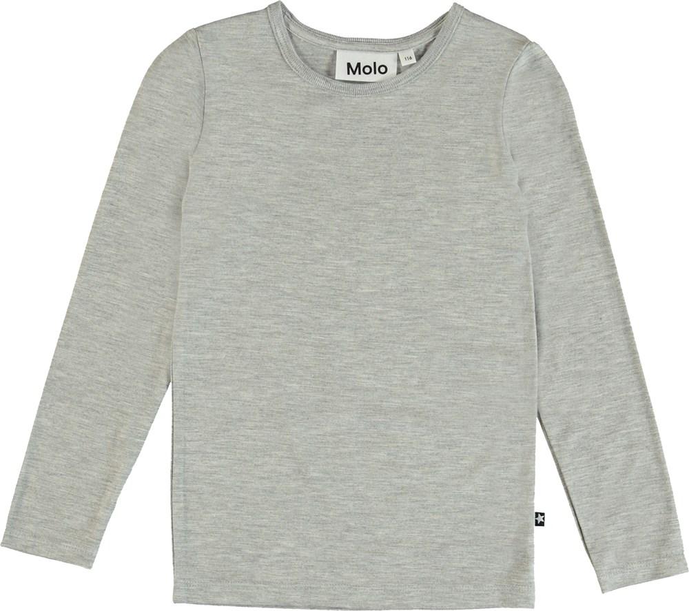 Ramona - Grey Melange - Long sleeve, grey melange basic t-shirt.