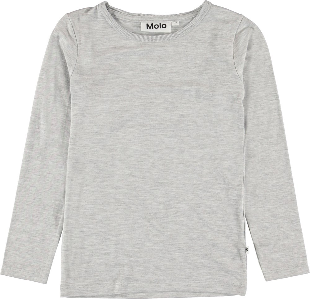 Ramona - Light Grey Melange - Light grey long sleeve top.
