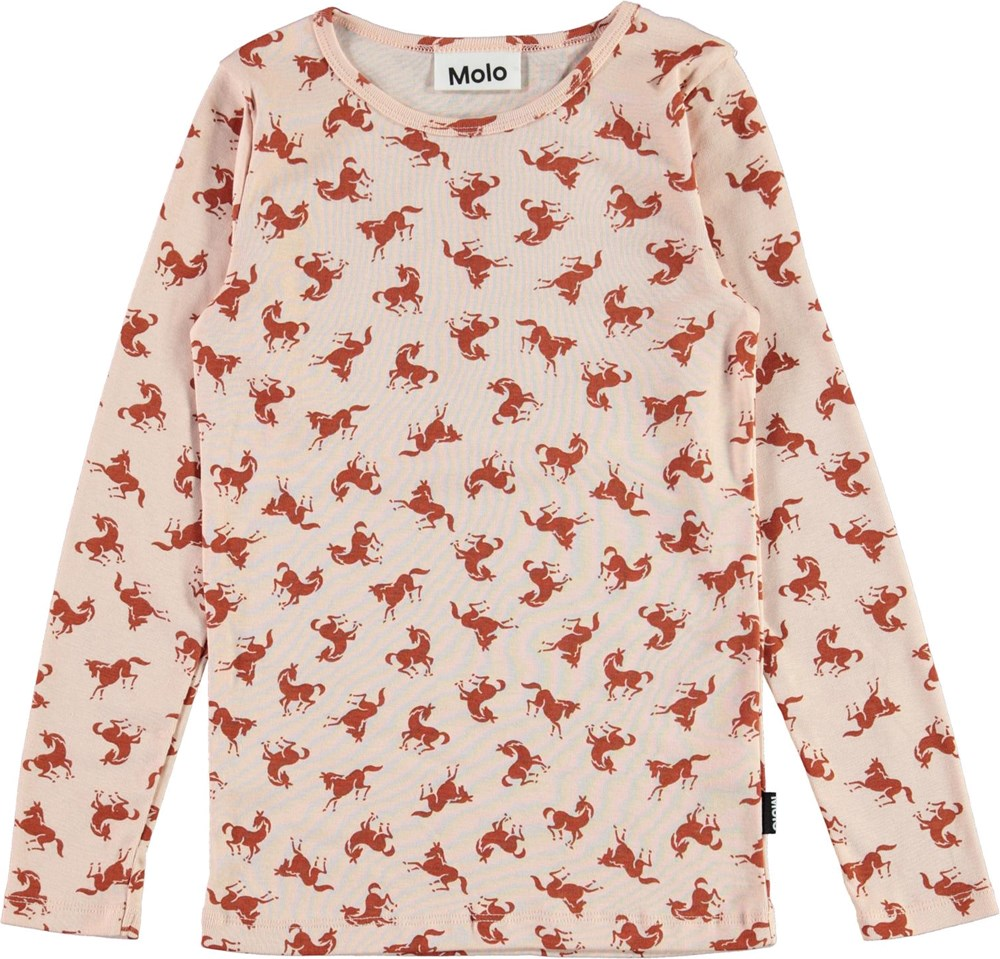 Ramona - Mini Horse Jersey - Pink organic top with horse print