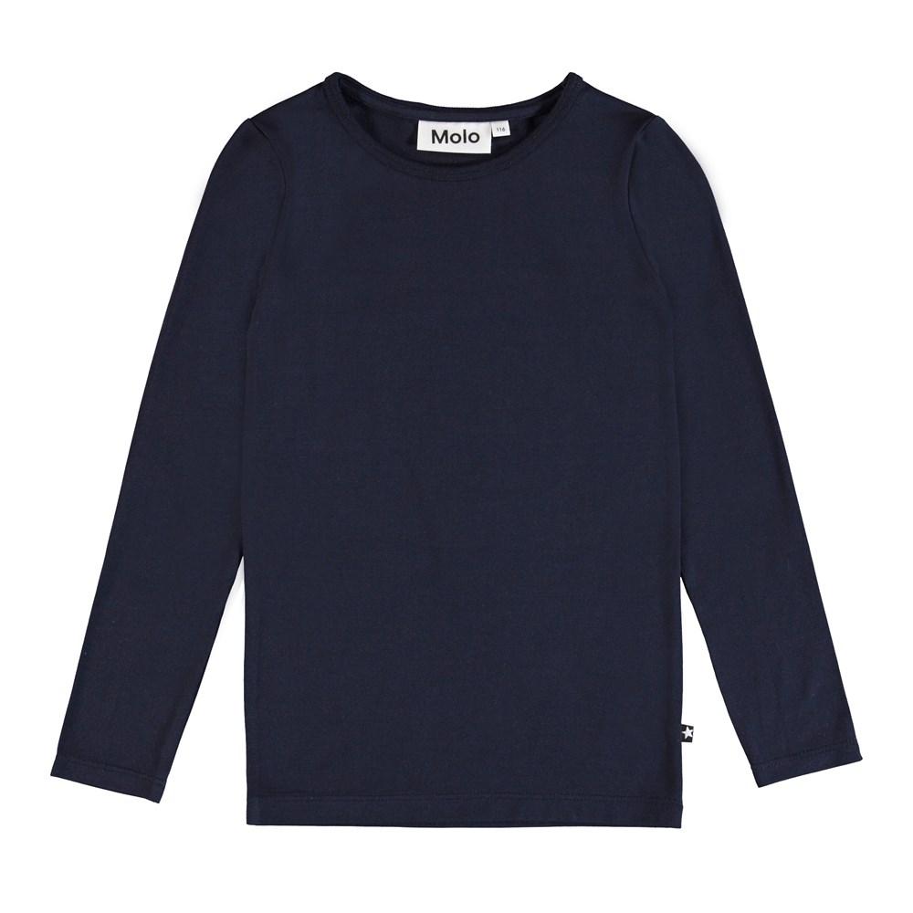 Ramona - Sky Captain - Long sleeve, blue basic t-shirt.