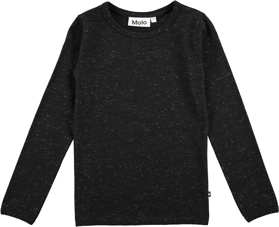 Ramona - Black - Long sleeve black top with glitter