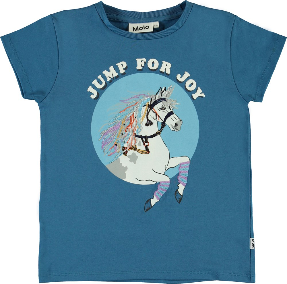 Ranva - Jump For Joy - Blue organic t-shirt with horse