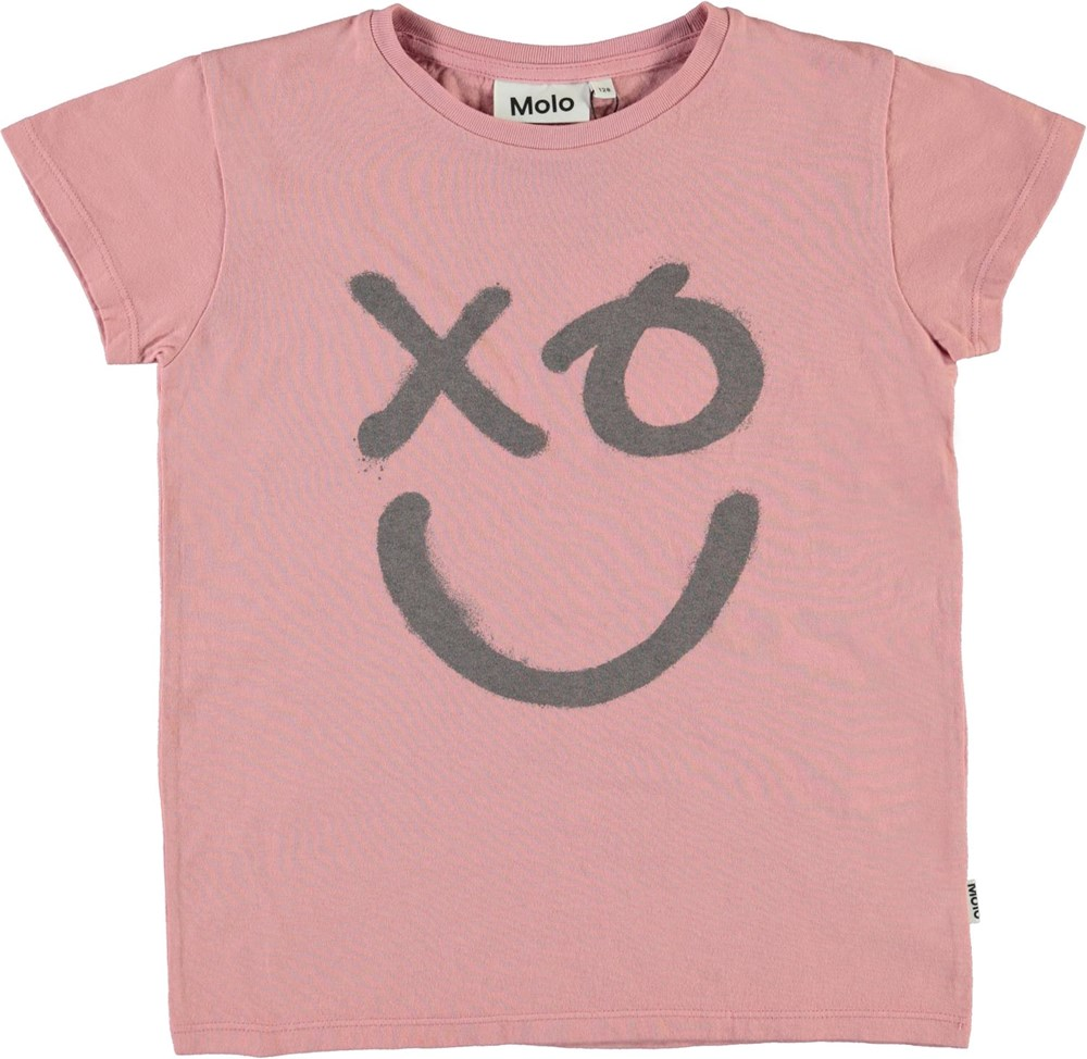 Ranva - XO Rose - Rosa t-shirt with smiley print