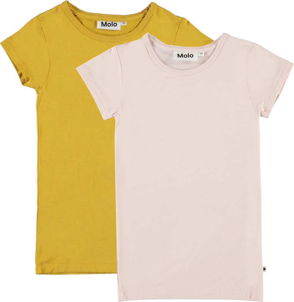Rasmine 2-Pack - Peach Blossom - Yellow and rose coloured t-shirt