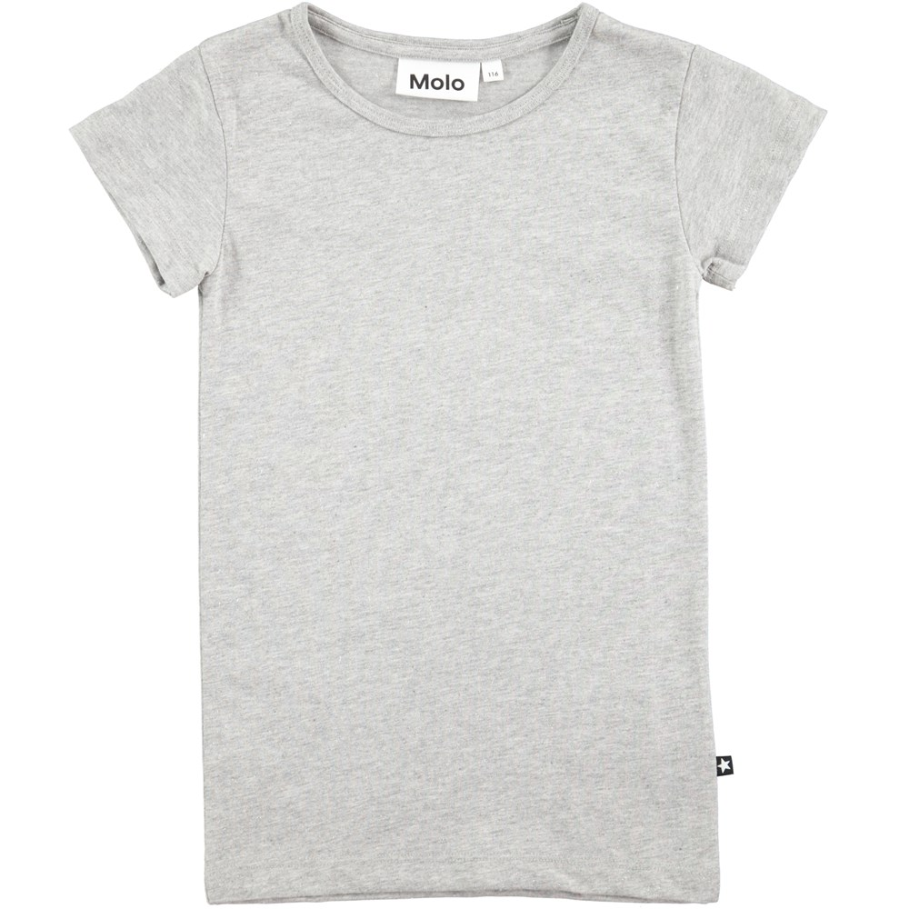 Rasmine - Grey Melange - short sleeve grey t-shirt