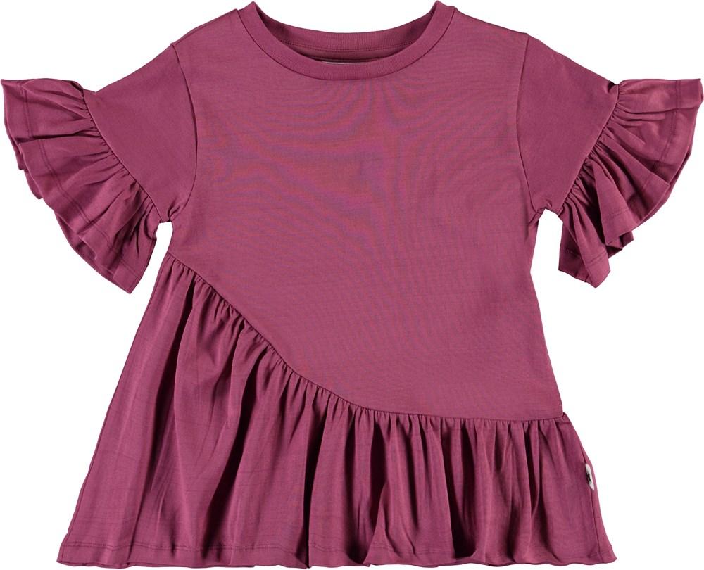 Ratja - Raspberry Jam - Asymmetrical ruffle t-shirt
