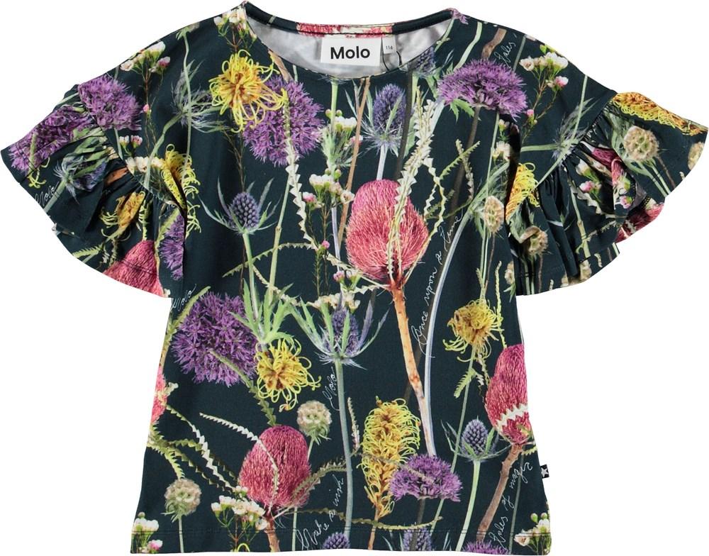 Rayah - Sleeping Beauty - Black t-shirt with flowers.