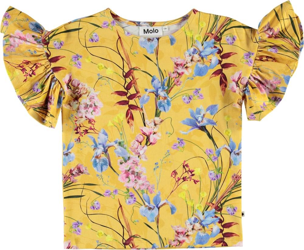 Rayah - The Art Of Flowers - Yellow organic t-shirt