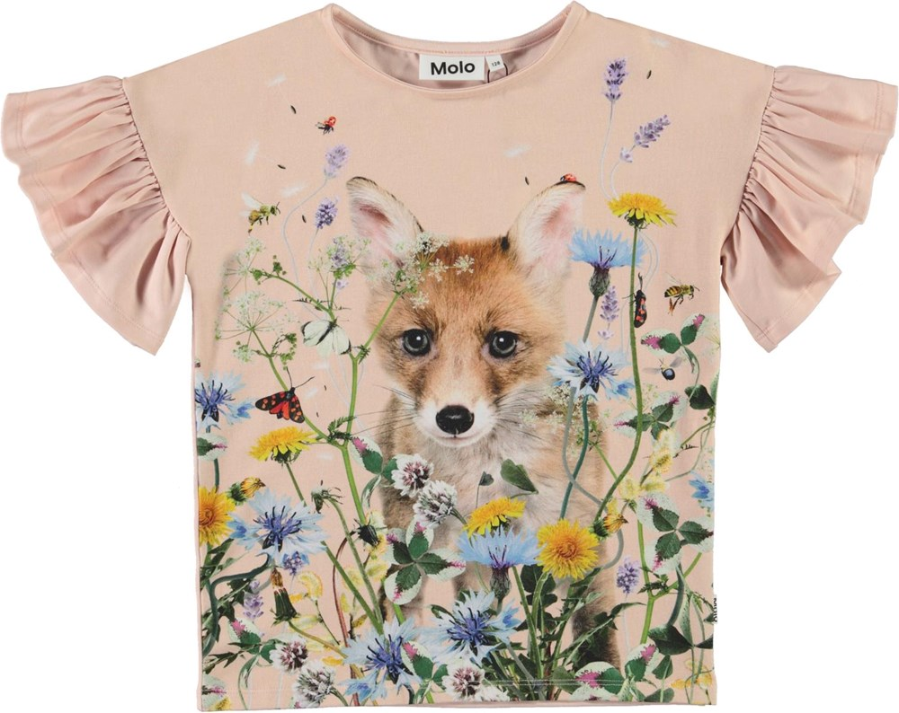 Rayah - Wildflower Fox - Pink t-shirt with a print of a fox