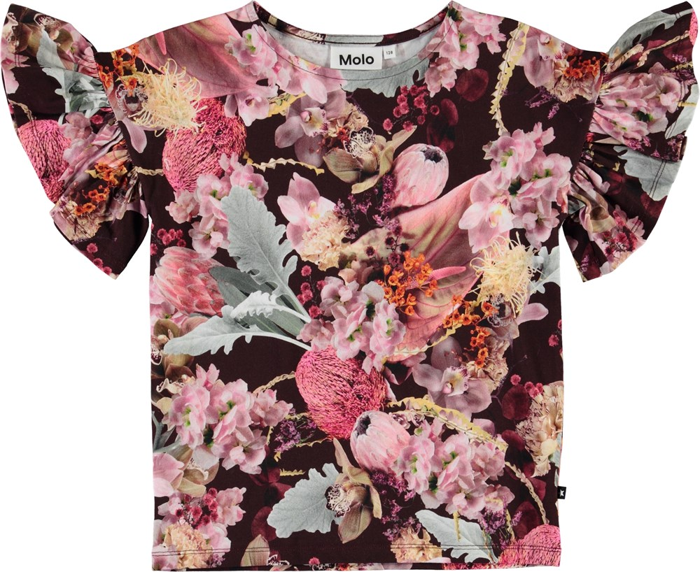 Rayah - Winter Bouquet - Organic t-shirt with ruffles and flowers