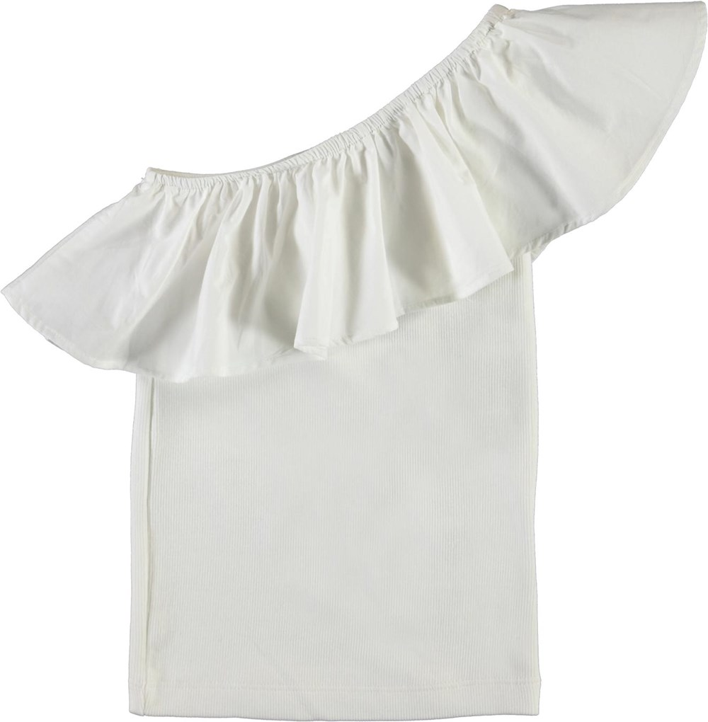 Rebecca - White Star - White, organic asymmetric top