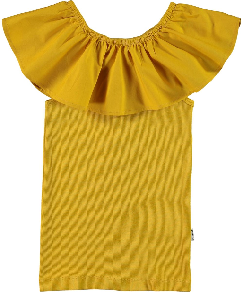 Reca - Nugget Gold - Golden organic vest with ruffle