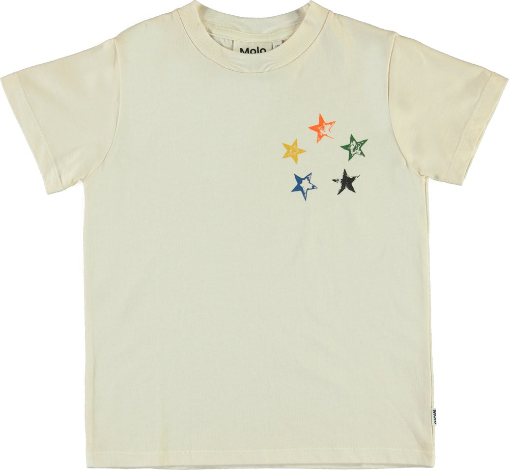 Reeve - Circle Of Stars - White organic t-shirt with stars