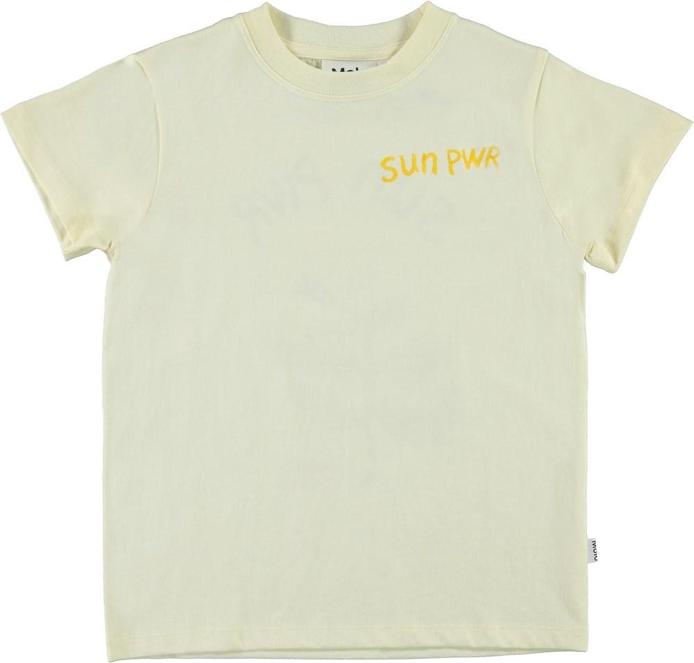 Reeve - SUN PWR - Light yellow organic t-shirt Flower and sun pwr