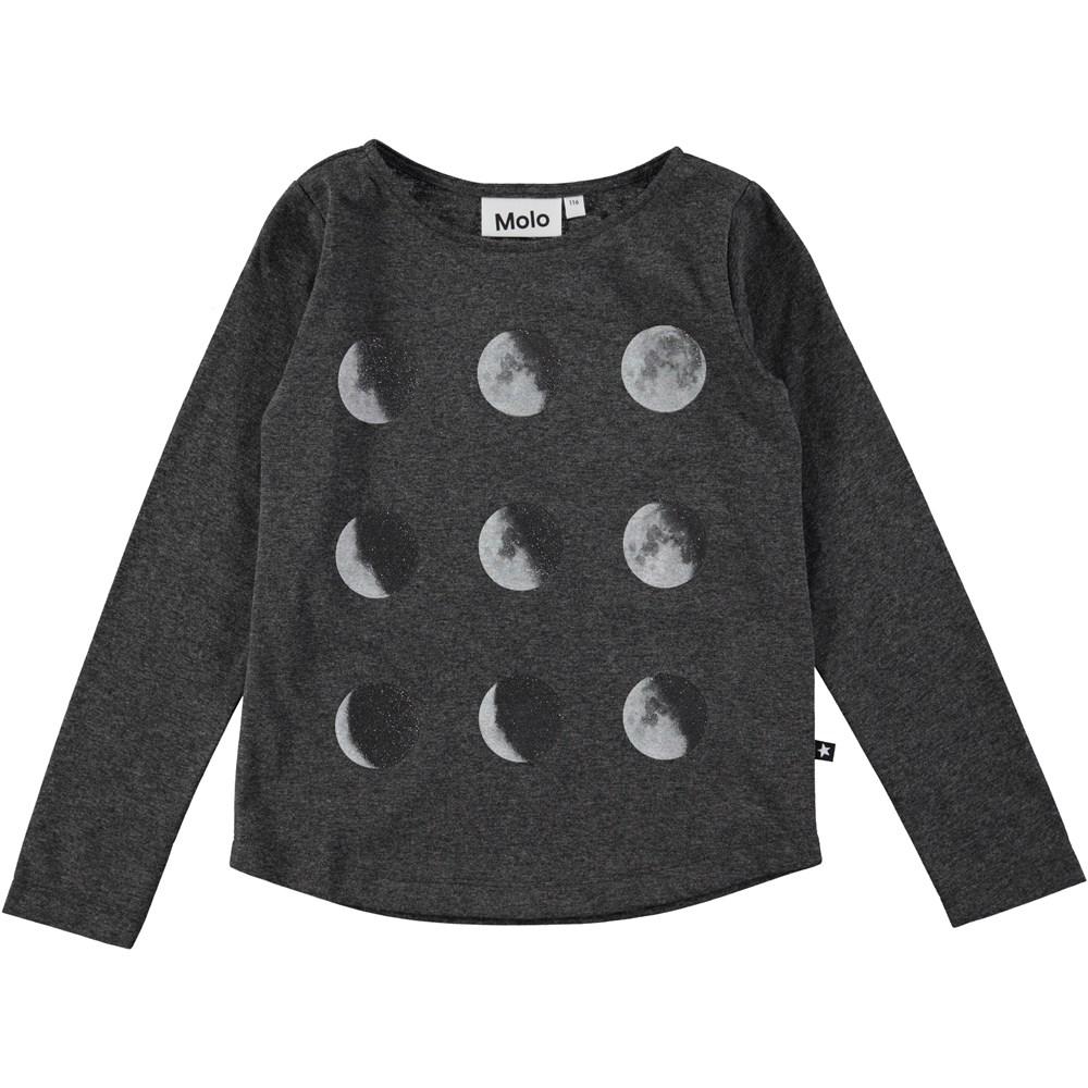 Reganne - Dark Grey Melange - long sleeve dark grey top with digital moon print