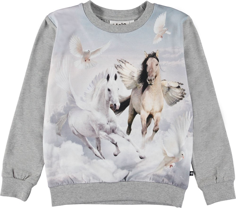 Regine - Bewinged - Grey top with flying horses.